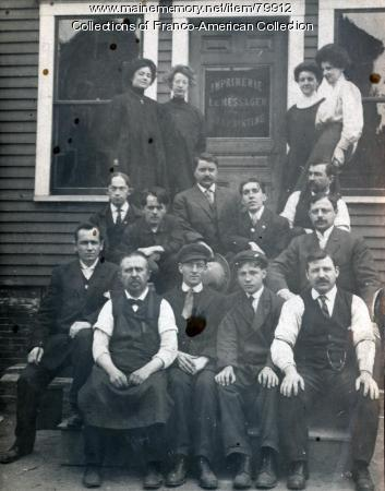 Le Messager Newspaper Staff, 175 Lincoln Street, Lewiston, 1908