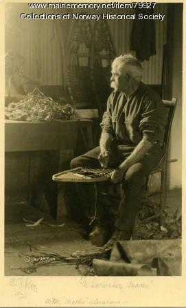 Mellie Dunham making snowshoes, Norway, 1924