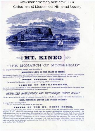 Mt. Kineo Hotel brochure, Moosehead Lake, 1875