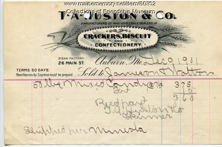 T.A.Huston & Co. invoice, 1901