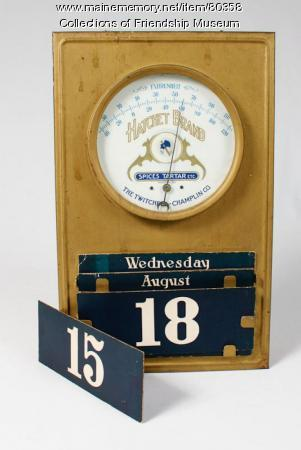 Thermometer and calendar, ca. 1900
