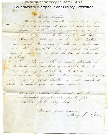 Condolences to Sarah Tarbox from cousin Mary Patten, 1848