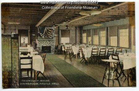 Argyle Hall dining room, ca. 1910