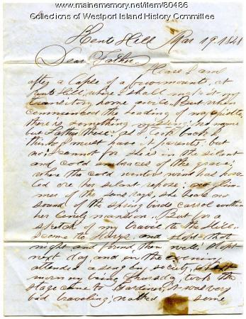Letter to Samuel Tarbox from son Franklin, 1849