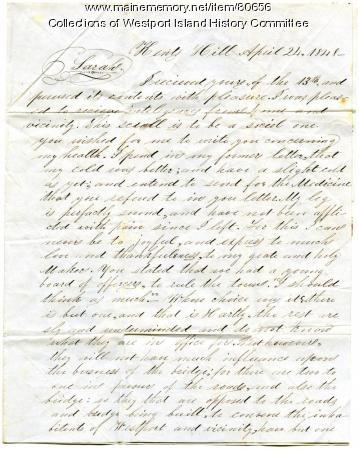 Letter to Sarah Tarbox from brother Franklin, 1848