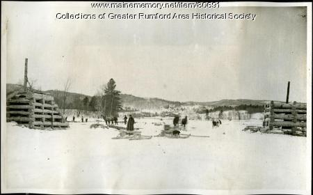 Building boom piers on the Androscoggin River, 1893