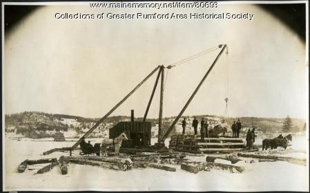 Boom pier construction, Androscoggin River, Rumford, 1893
