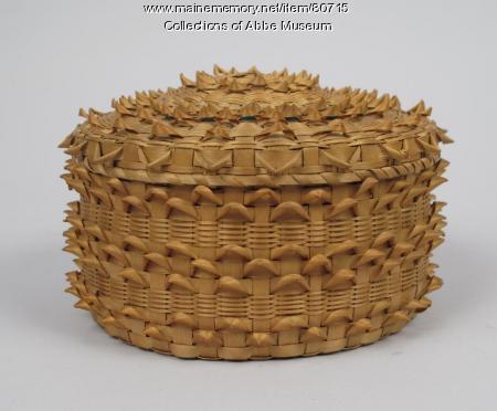 Fancy porcupine-weave basket, Penobscot, 1862