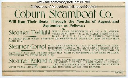 Coburn Steamboat Co. schedule, ca. 1895