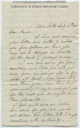 Martha Osgood letter on visits from friends, Hollis, 1862