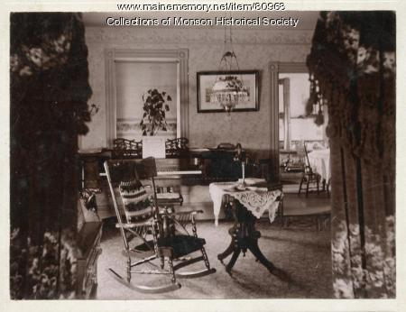Sitting room, early Monson home,  ca. 1900