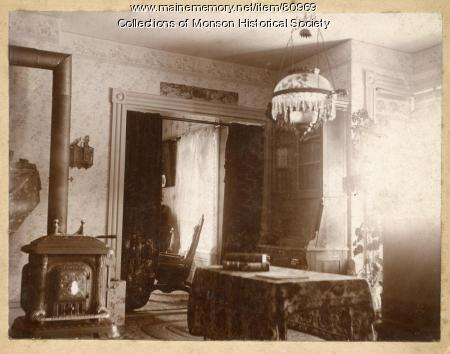 Interior view of old Monson home, ca. 1900