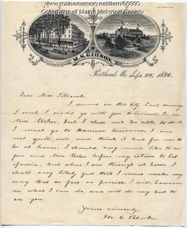Letter concerning former soldier's visit, Portland, 1890