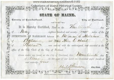 Holman Melcher-Alice E. Hart marriage intentions, Portland, 1874