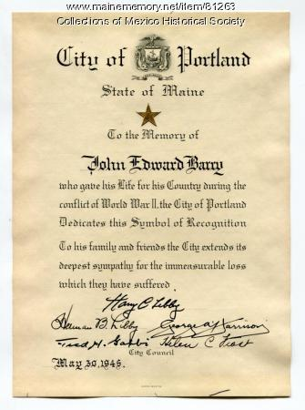 Symbol of Recognition for John Edward Barry, 1945
