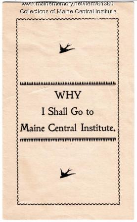 Maine Central Institute Recruitment Pamphlet, ca. 1905
