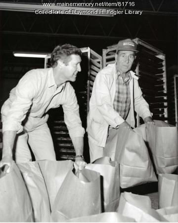 William S. and Reuben Cohen working at Bangor Rye Bread Bakery, ca. 1984