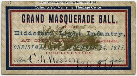Biddeford Light Infantry Grand Masquerade Ball ticket, Biddeford, 1877