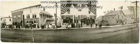 Town Business decorated for Centennial, Monson, 1922