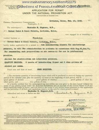 Alcohol use permit for Dr. Giguère, Lewiston, 1922