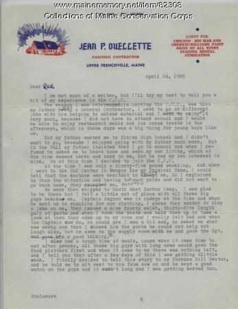 Jean P. Ouellette Letter on CCC, Upper Frenchville, 1985