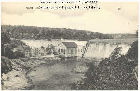 Union River Power House and Dam, Ellsworth, ca. 1920