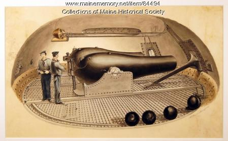 Interior view of turret of ironclad, ca. 1864