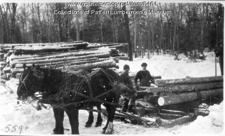 Log hauling from the yard, Maine woods