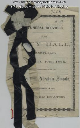 President Lincoln funeral program, Portland, 1865