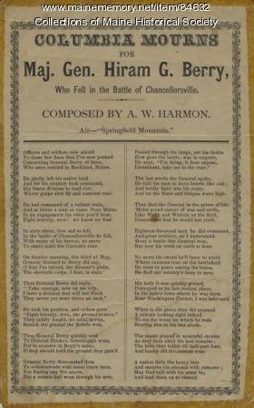 Hiram Berry memorial poem, ca. 1863