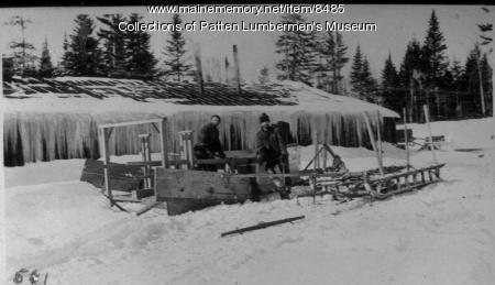 Horse-drawn snow plow, ca. 1900