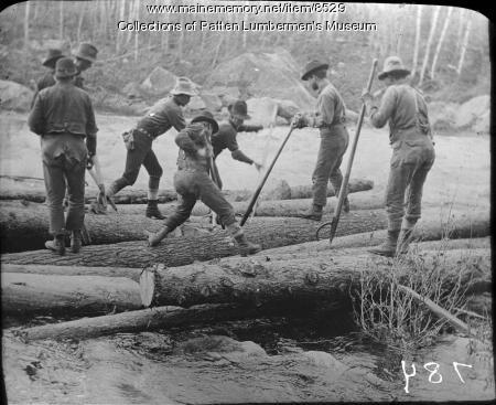 Loggers on drive, ca. 1900