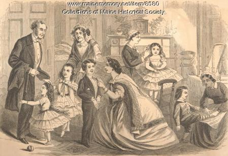 Family scene with adults and children