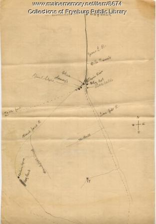 Map of Buck Peters locations, Fryeburg, ca. 1912