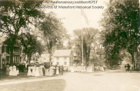 Flag Pole gathering, Waterford, ca. 1900