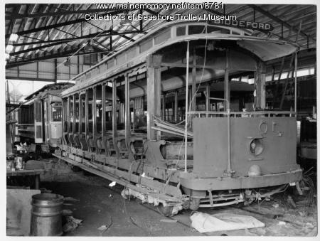 Trolley restoration, Kennebunk, 1975