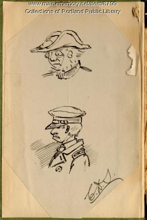 Self-portrait sketches, Charles D. Sigsbee