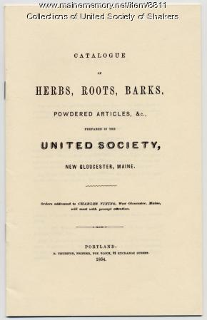 Herb catalog, United Society of Shakers, New Gloucester, 1864