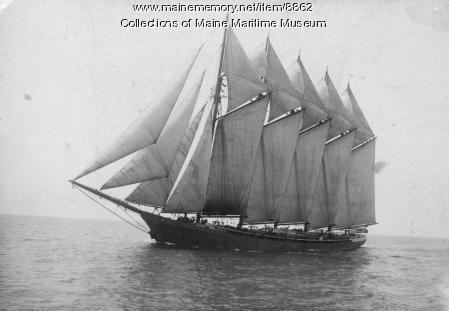 Five-mast steel schooner KINEO under sail