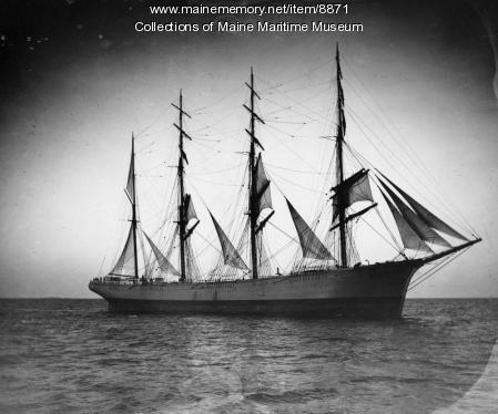 Four-mast bark 'Roanoke' under sail