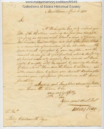 Letter to Peleg Wadsworth with Washington hair, 1800