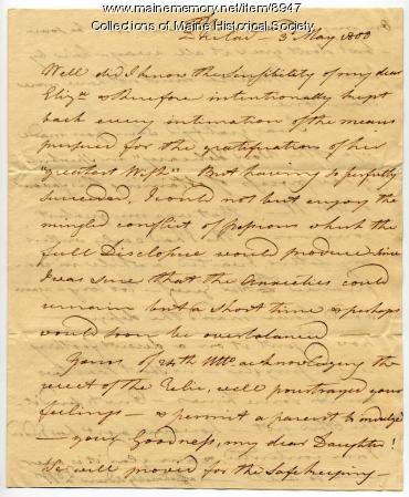 Letter from Peleg Wadsworth to Elizabeth Wadsworth