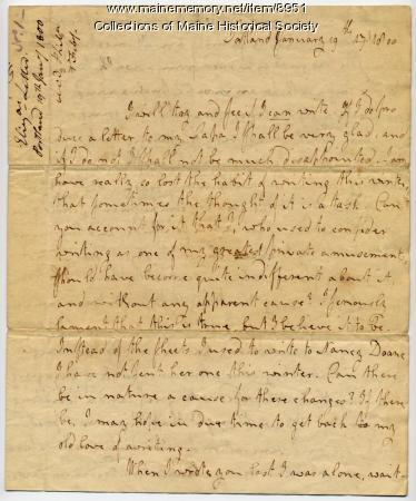 Letter from Elizabeth Wadsworth to her father, Peleg Wadsworth