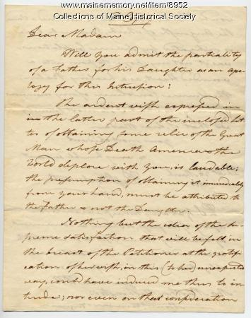 Copy of Peleg Wadsworth letter to Martha Washington, 1800