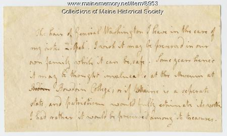 Note by Elizabeth Wadsworth about the lock of George Washington's hair