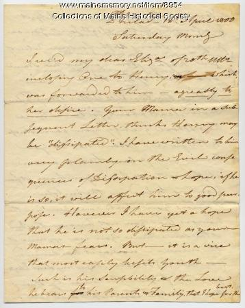 Letter from Peleg Wadsworth to his daughter, Elizabeth