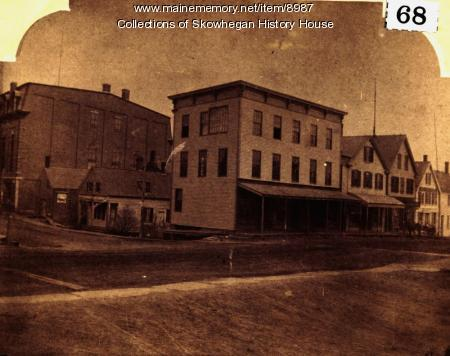 Skowhegan buildings near Elm Street, ca. 1880