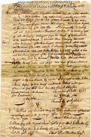 Deed from Josle, Sagamore to Walter Phillips, Feb. 15, 1661