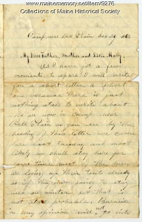 Letter, John Sheahan to his family in Dennysville, 1862