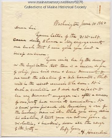 Letter from Hannibal Hamlin, June 10, 1850